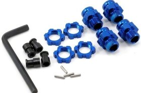Адаптеры колёс Wheel hubs, splined, 17mm, short (4)/ wheel nuts, splined, 17mm (4) (blue-anodized)/ hub retainer M4 - TRA6856X