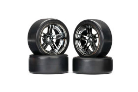"Tires and wheels, assembled, glued (split-spoke black wheels, 1.9"" Drift tires) (front and rear)"
